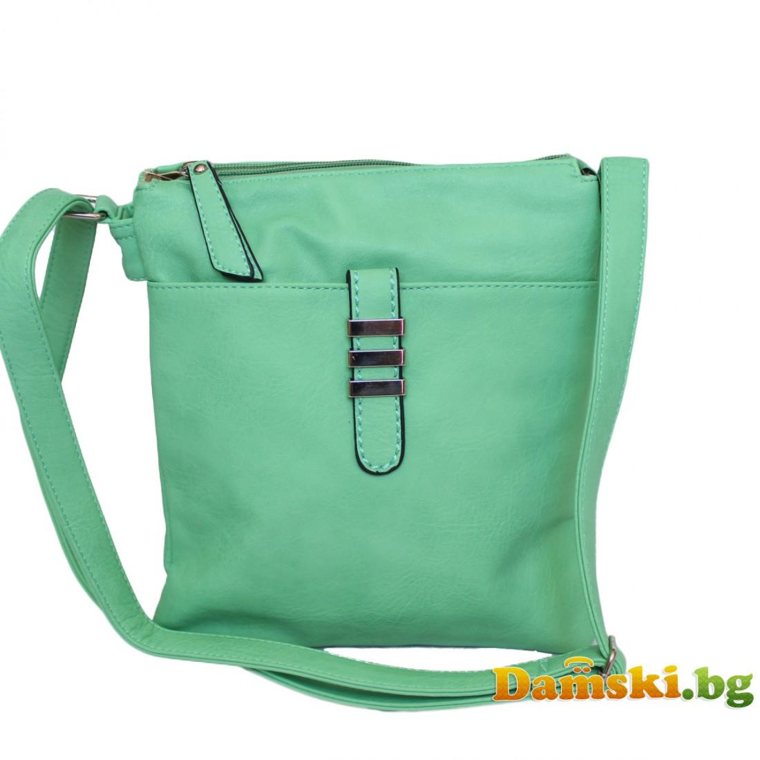 Дамска чанта през рамо - зелена