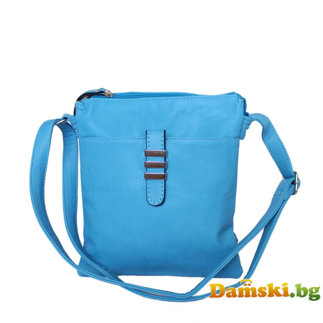 Дамска чанта през рамо - Синя