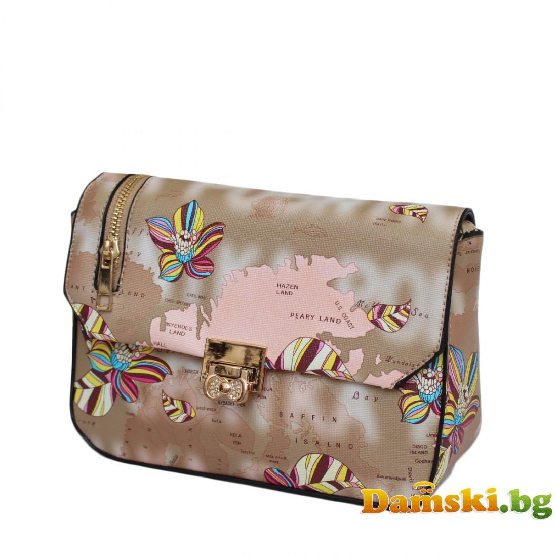 Дамска чанта през рамо Биби - кафява (цветна)