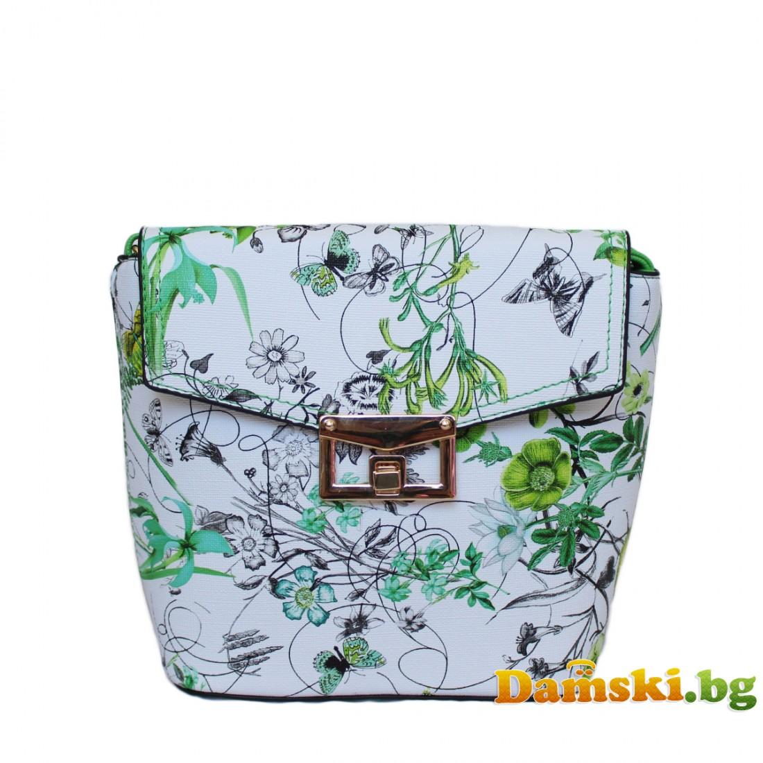 Дамска чанта през рамо Криси - зелена (цветна)