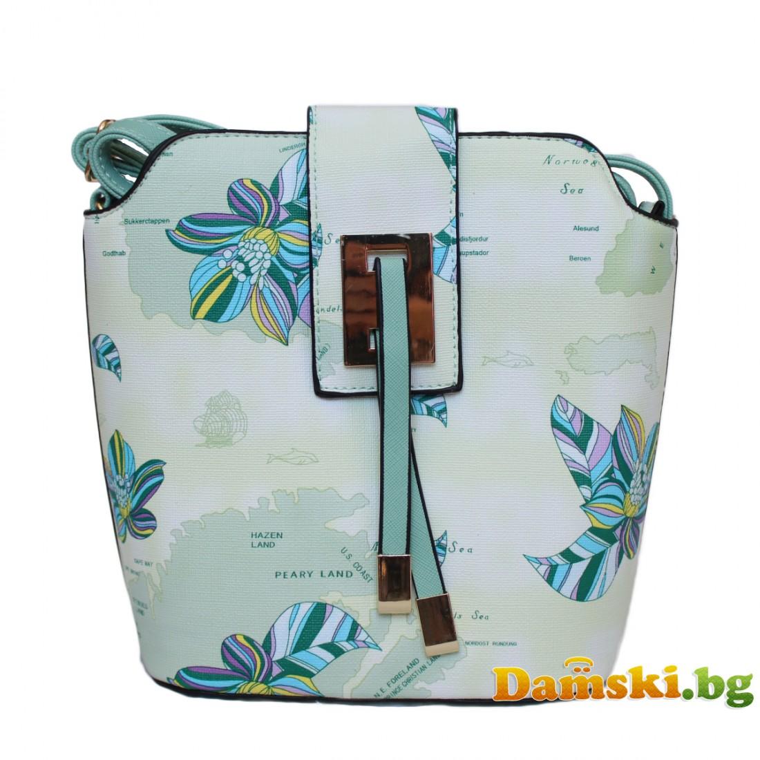 Дамска чанта през рамо Биби - зелена (цветна)