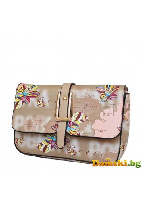 Дамски чанти през рамо Бети - кафява (цветна)
