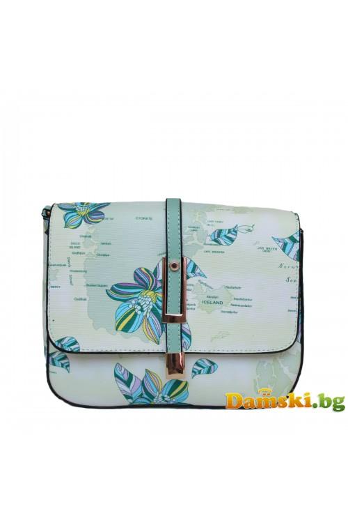 Дамска чанта през рамо - зелена (цветна)