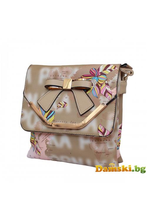 Дамска чанта през рамо Мира - кафява (цветна)