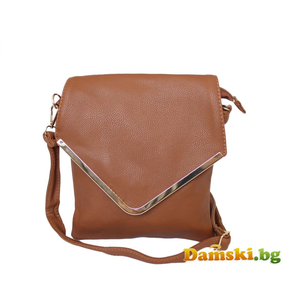 Дамски чанти през рамо Теди - кафява