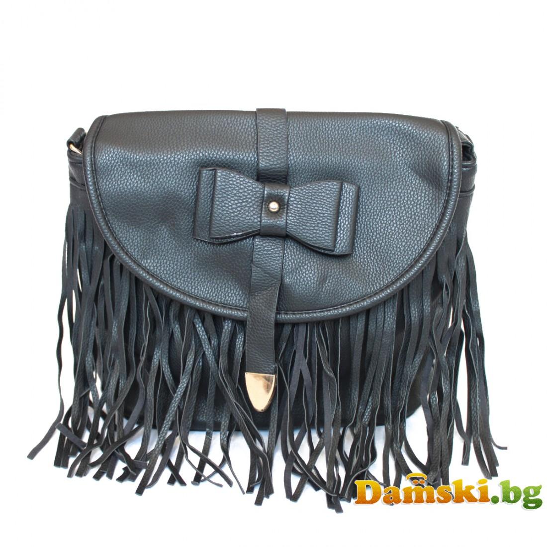 Дамска чанта през рамо Кейт с ресни - черна