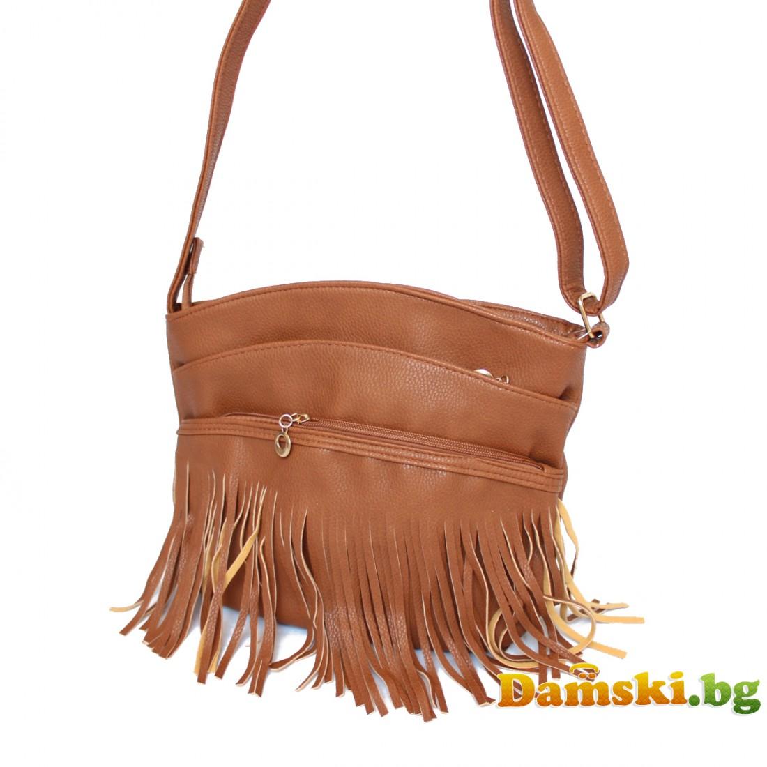 Дамска чанта през рамо с ресни Лили - кафява