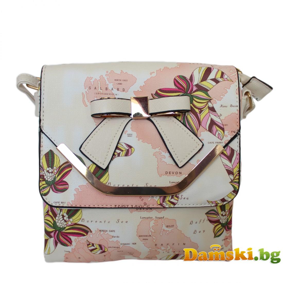 Дамска чанта през рамо Мира - пудра (цветна)