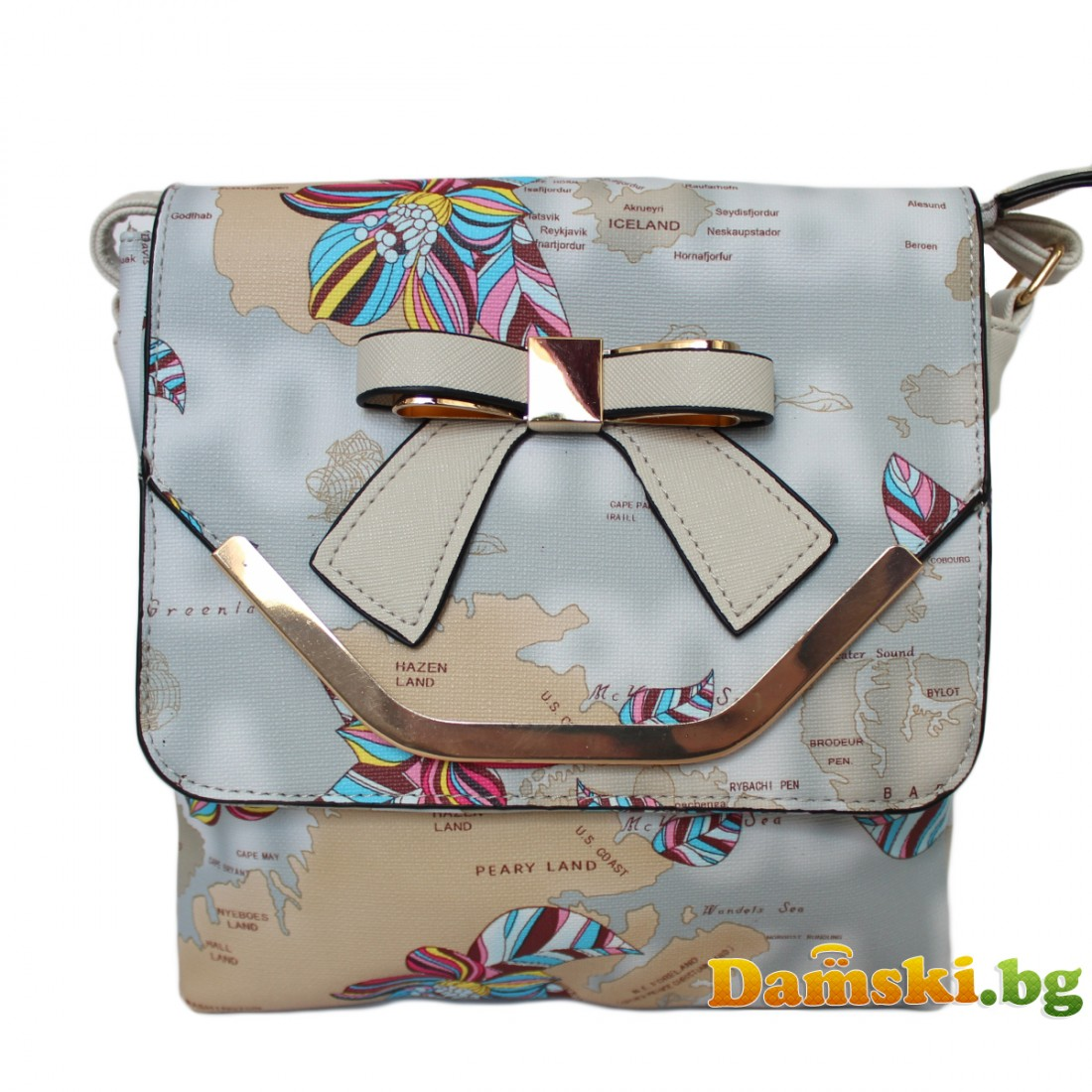 Дамска чанта през рамо Мира - сива (цветна)