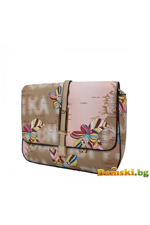 Дамска чанта през рамо - кафява (цветна)