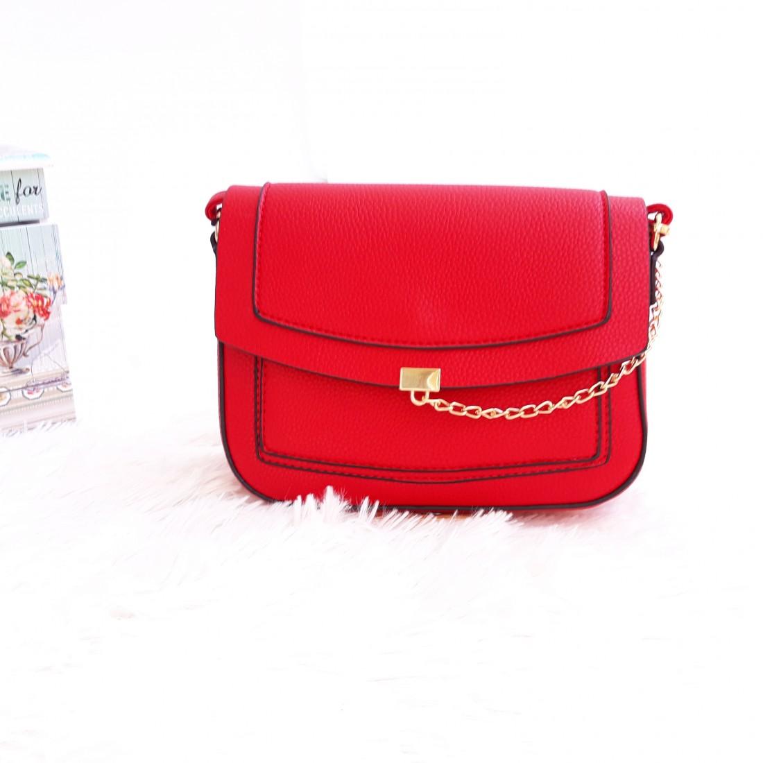 Дамска чанта през рамо - код 2829 - червена