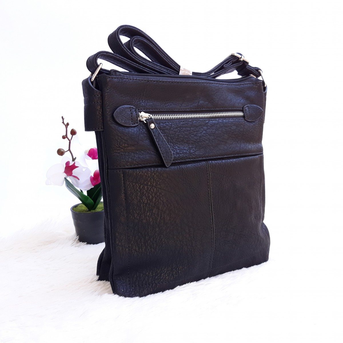 Дамска чанта през рамо - код 2875 - черна