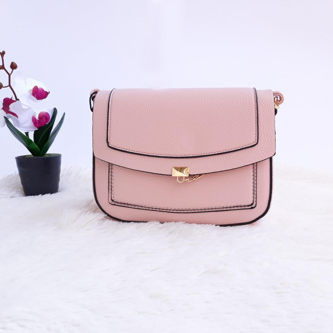 Дамска чанта през рамо - код 2882 - розова