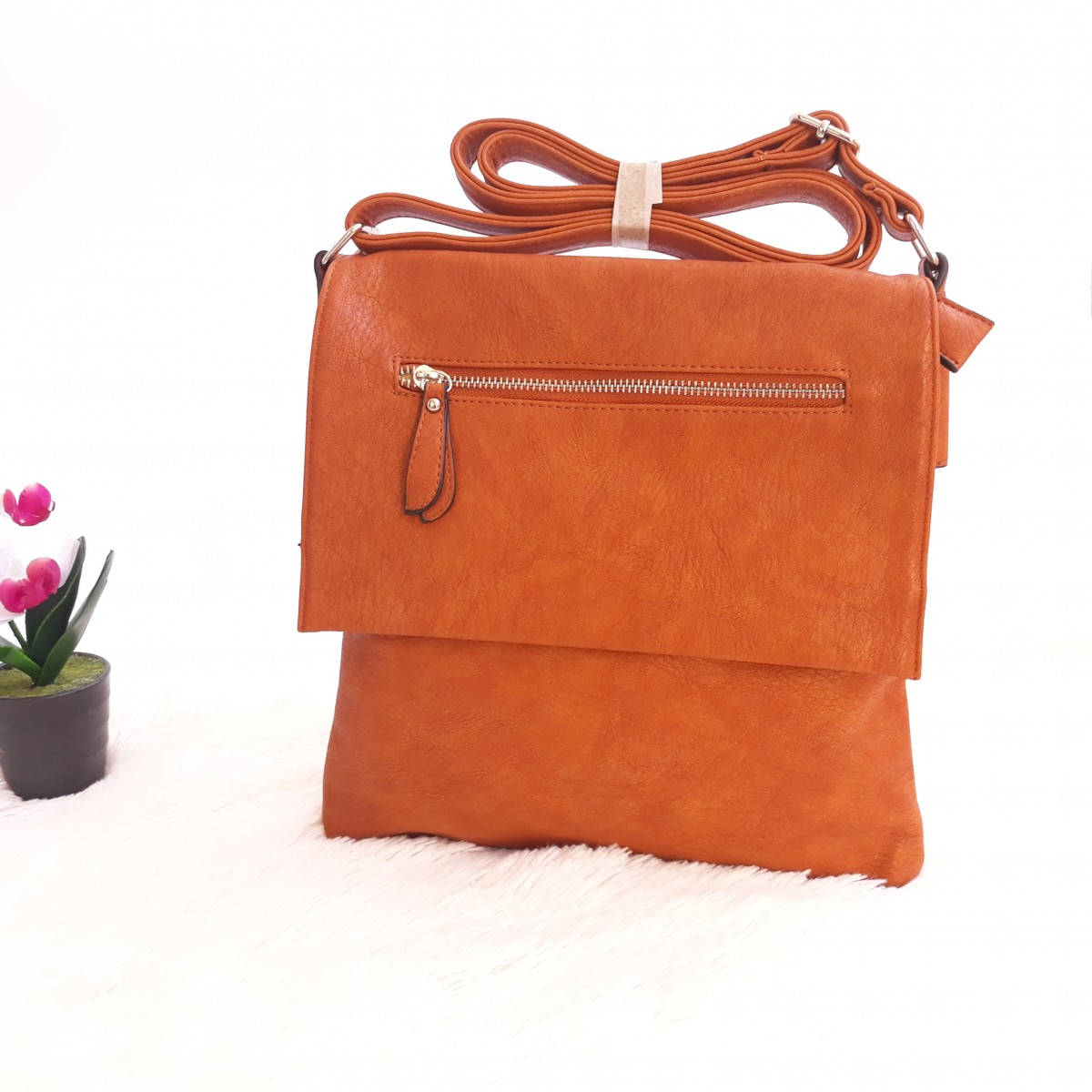 Дамска чанта през рамо - код 2909 - кафява