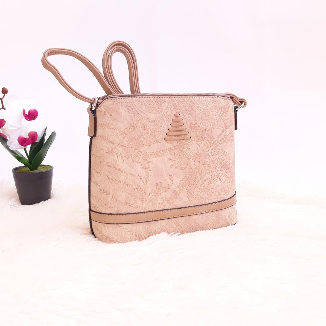 Дамска чанта през рамо - код 2912 - светло кафява