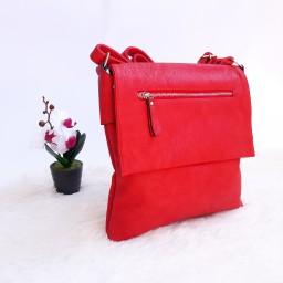 Дамска чанта през рамо в червен цвят - код 2874
