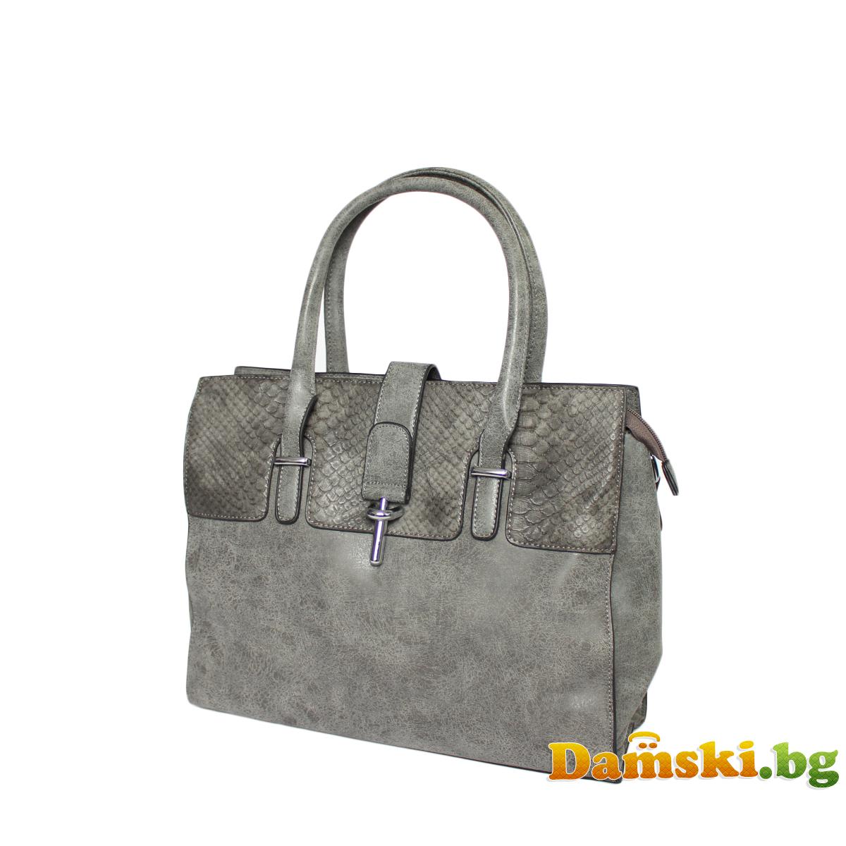 Стилна дамска чанта - змийски кожа Снимка 3 от 4