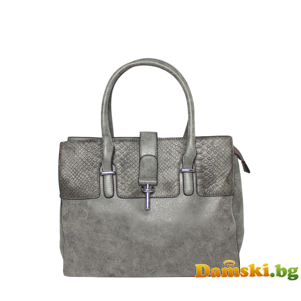 Стилна дамска чанта - змийски кожа