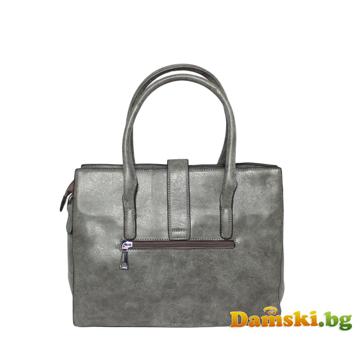 Стилна дамска чанта - змийски кожа Снимка 2 от 4