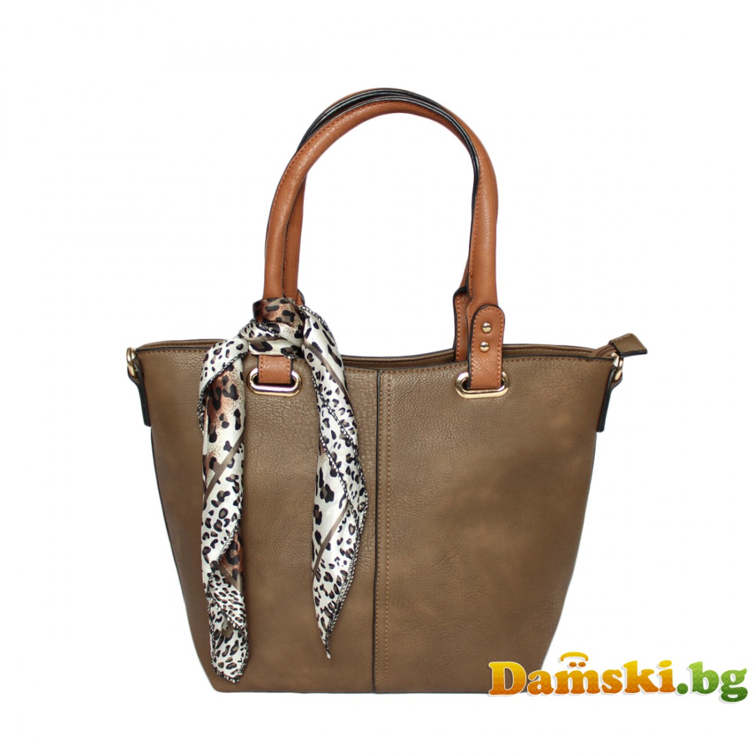 Елегантна дамска чанта Лейди - тъмно кафява