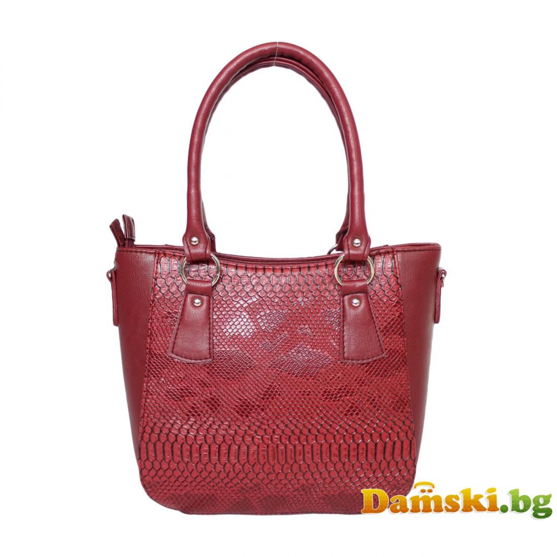 Стилни дамски чанти - червена