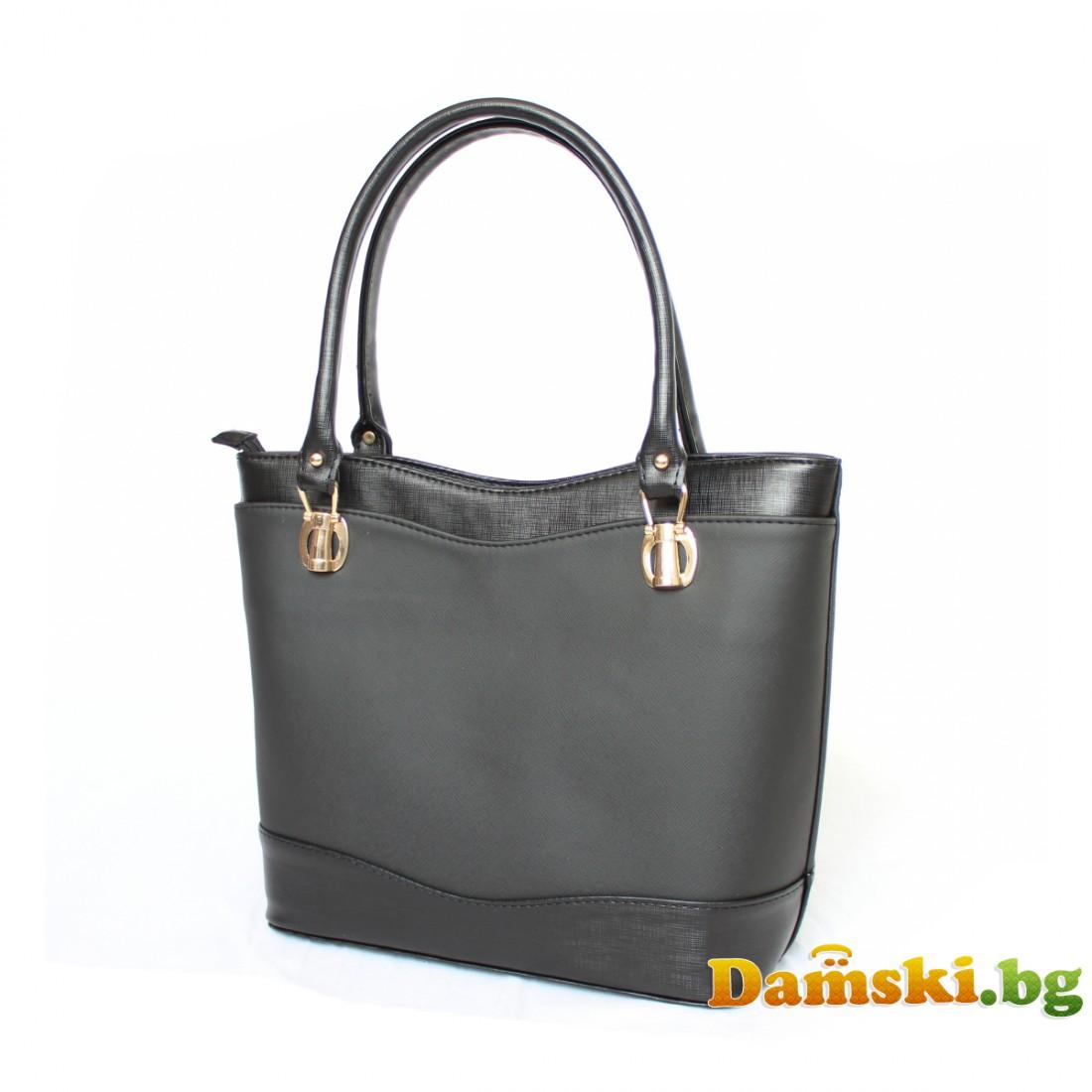 Стилна дамска чанта Жули - черна