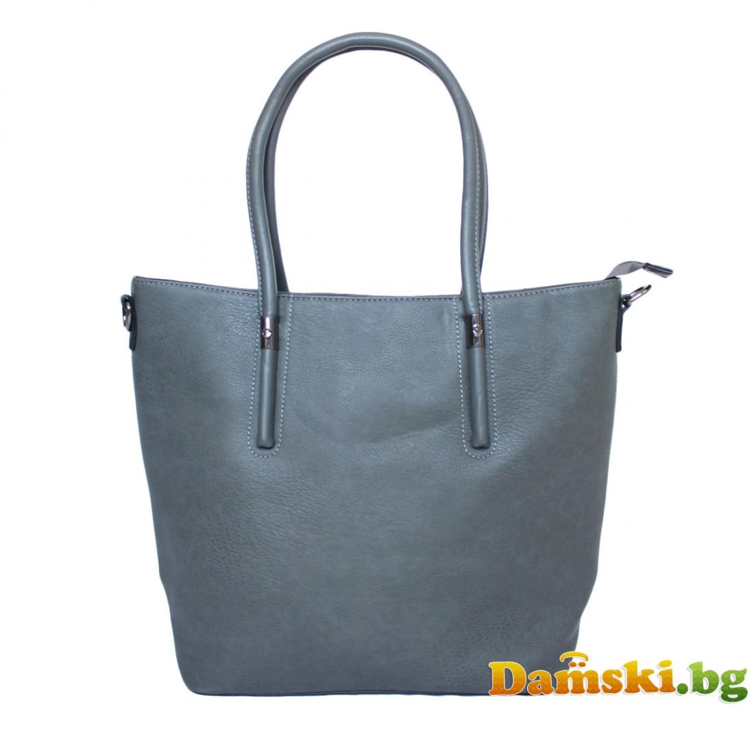 Стилна дамска чанта Сузи - сива