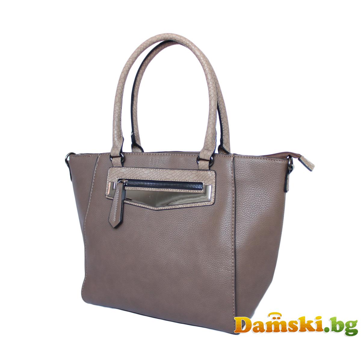 Стилна дамска чанта Люси - кафява Снимка 3 от 3