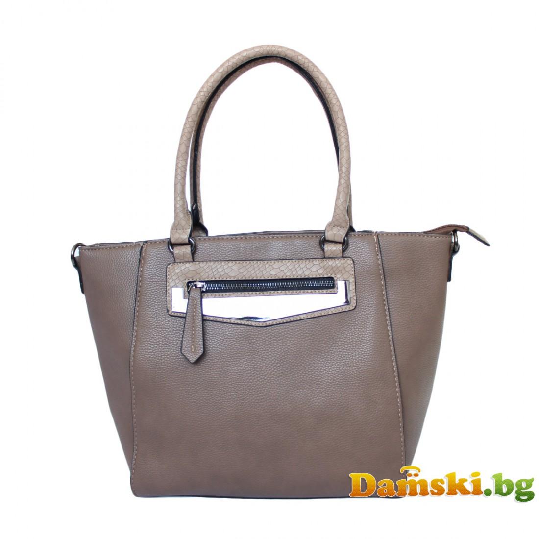 Стилна дамска чанта Люси - кафява