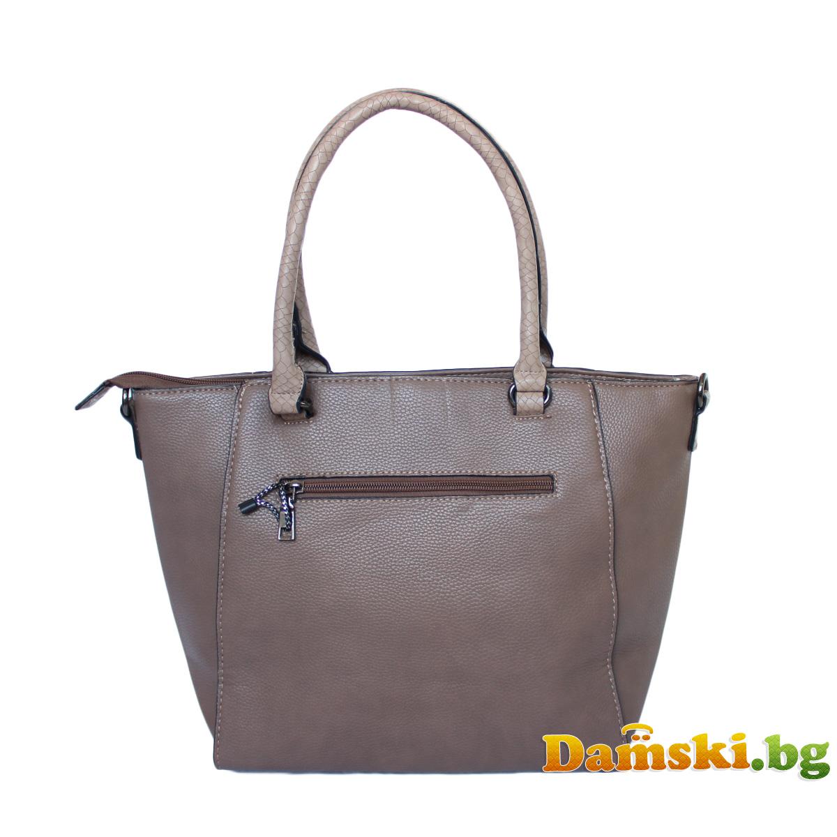 Стилна дамска чанта Люси - кафява Снимка 2 от 3