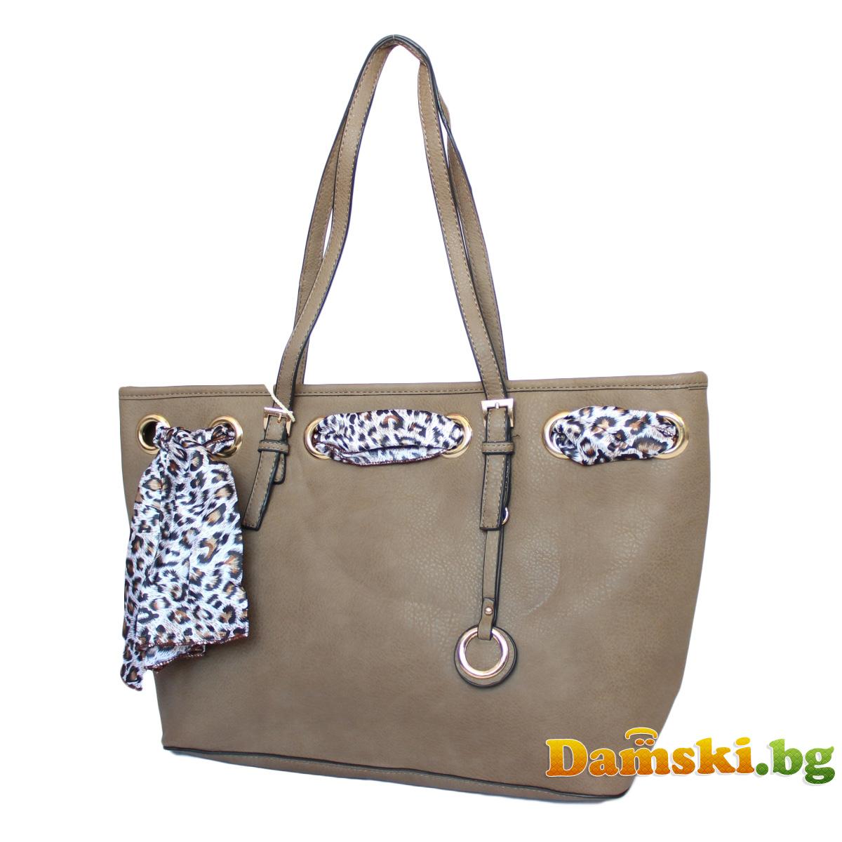 Стилна дамска чанта с шалче - кафява Снимка 2 от 3