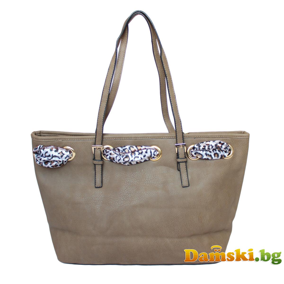 Стилна дамска чанта с шалче - кафява Снимка 3 от 3