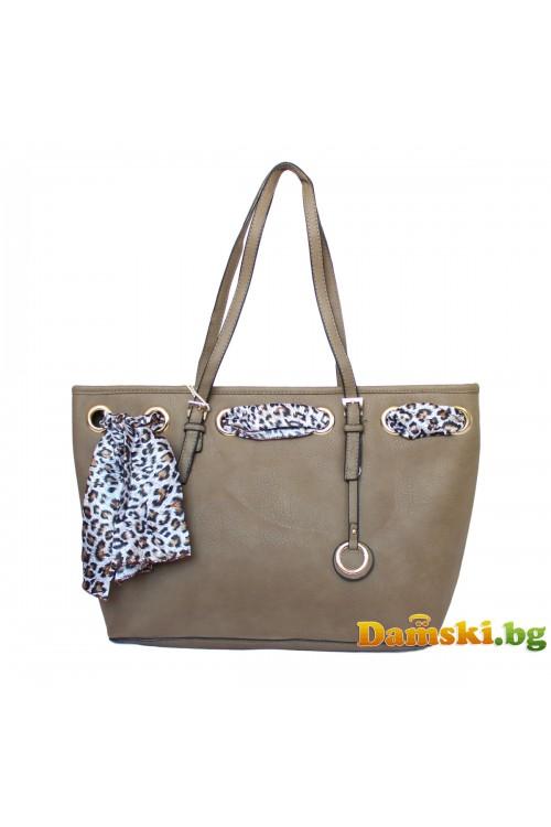 Стилна дамска чанта с шалче - кафява