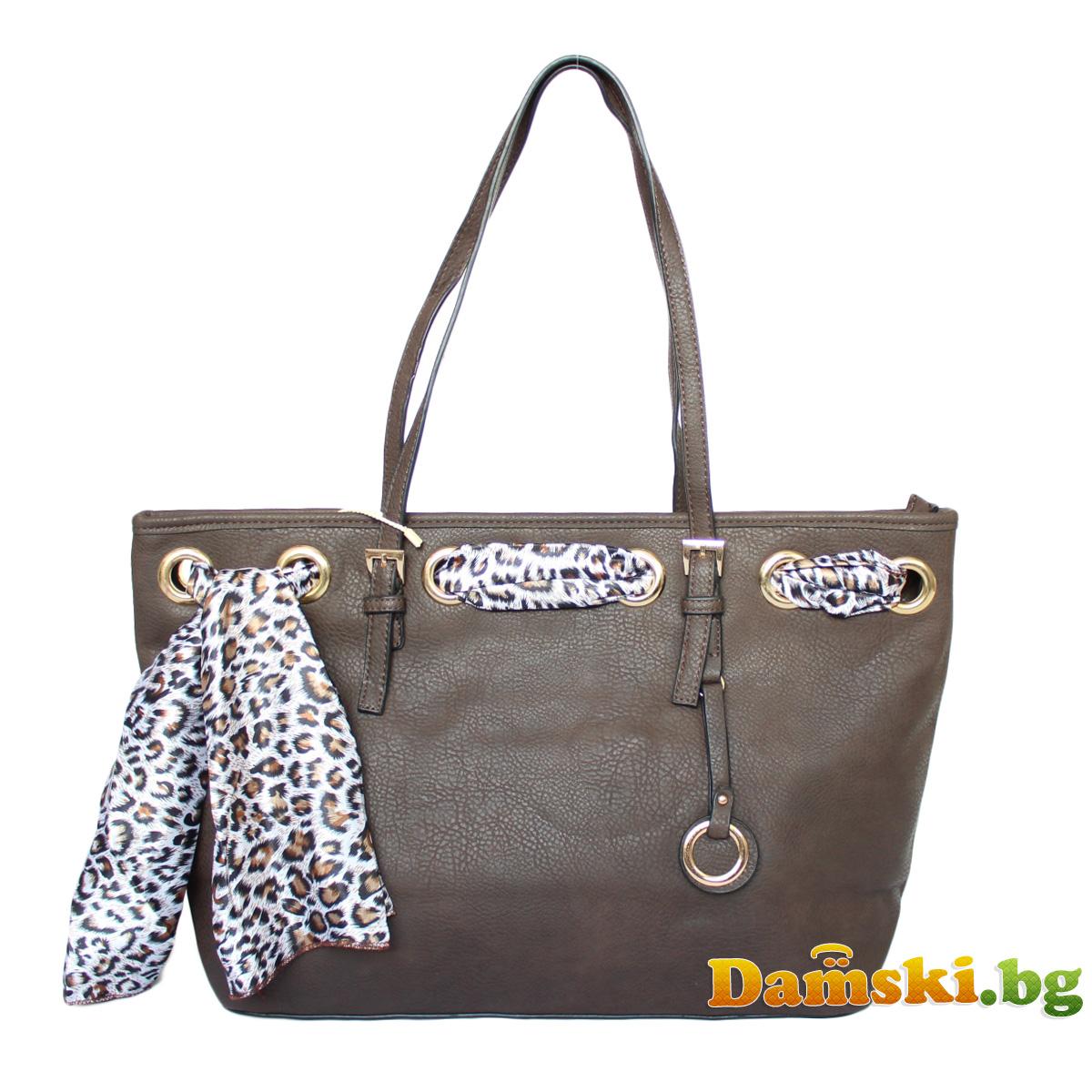 Стилна дамска чанта с шалче - тъмно кафява