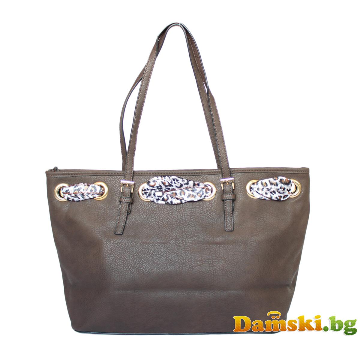 Стилна дамска чанта с шалче - тъмно кафява Снимка 2 от 3
