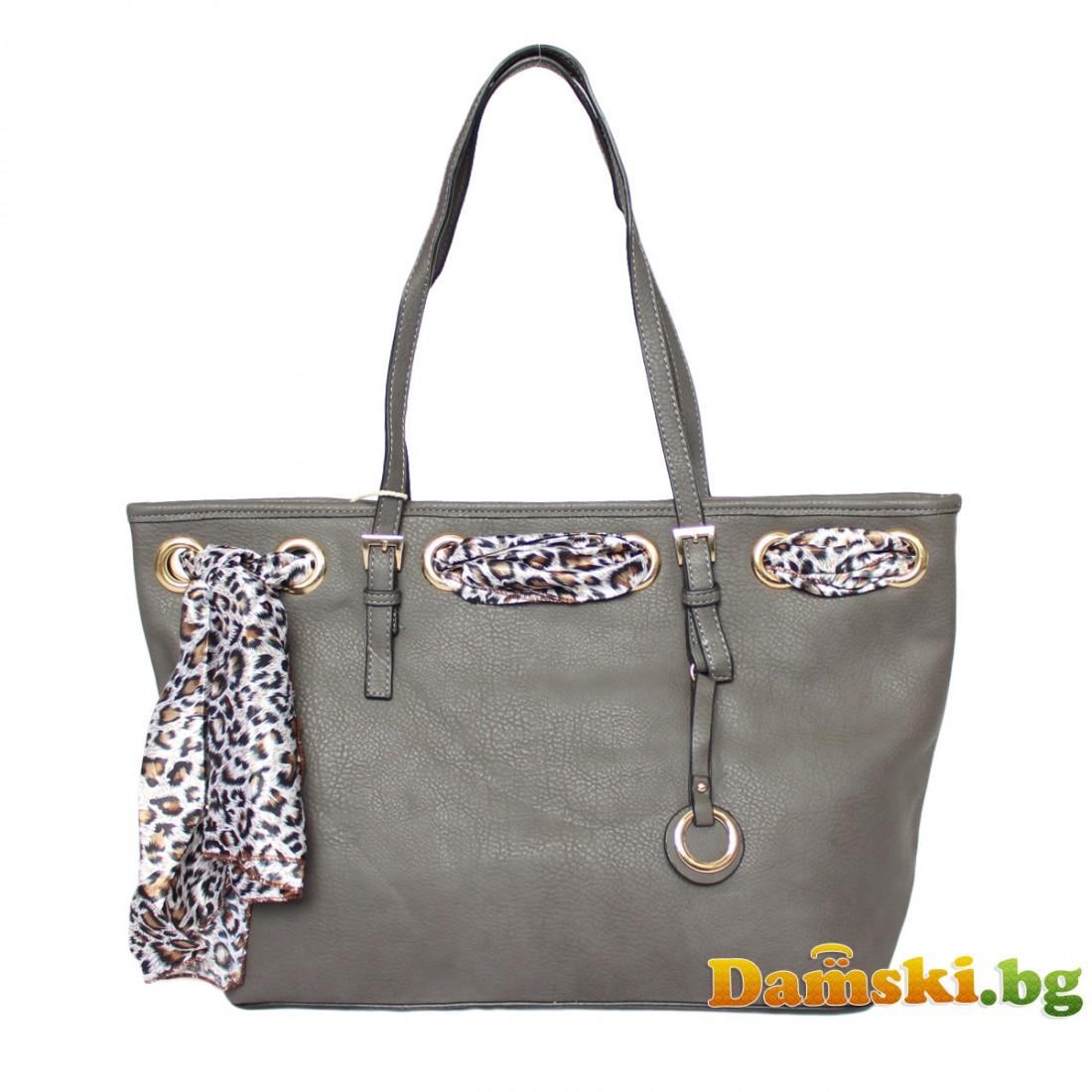 Стилни дамски чанти с шалче - сива
