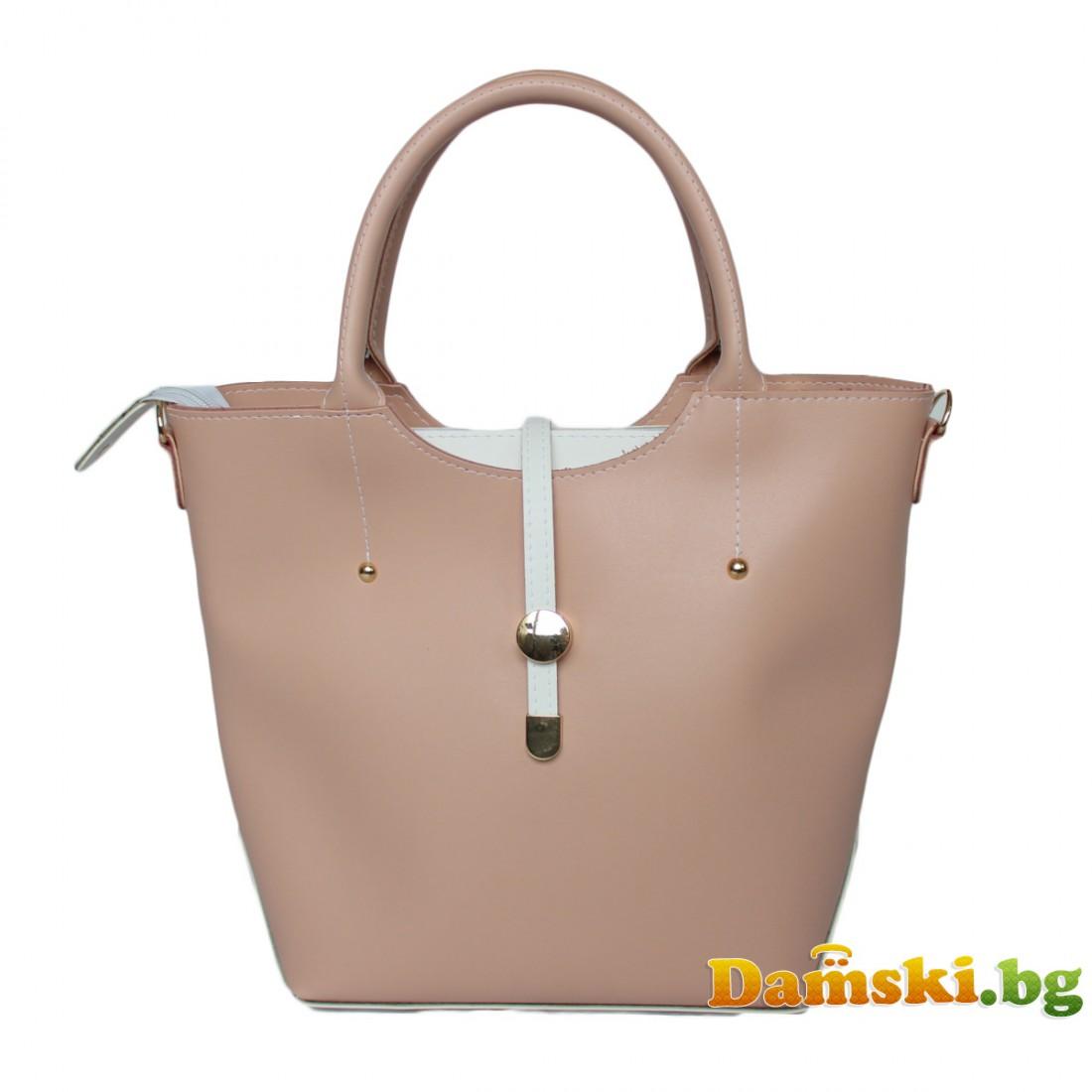 Стилна розова дамска чанта Ива