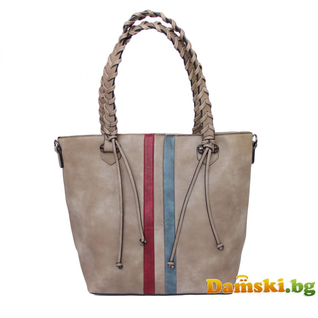Стилна дамска чанта Лина - каки