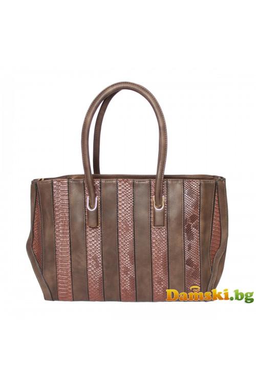 Стилна голяма дамска чанта - кафява