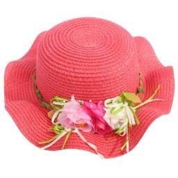Детска плажна шапка с цветя