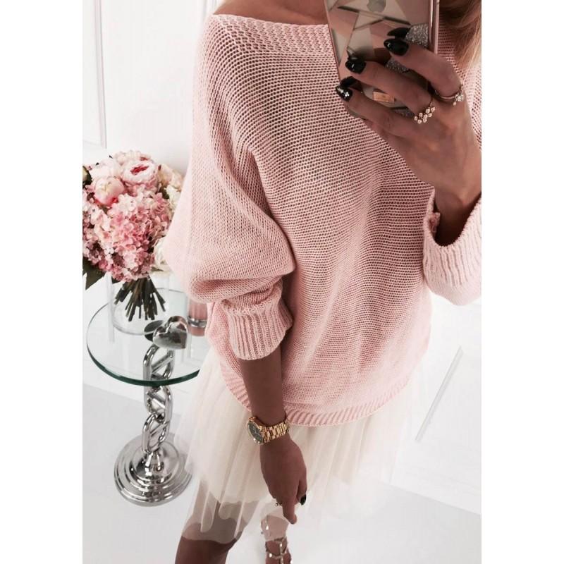 Изчистен дамски пуловер с копчета на гърба