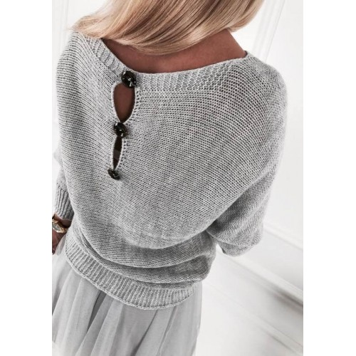 Изчистен дамски пуловер с копчета на гърба - Сив