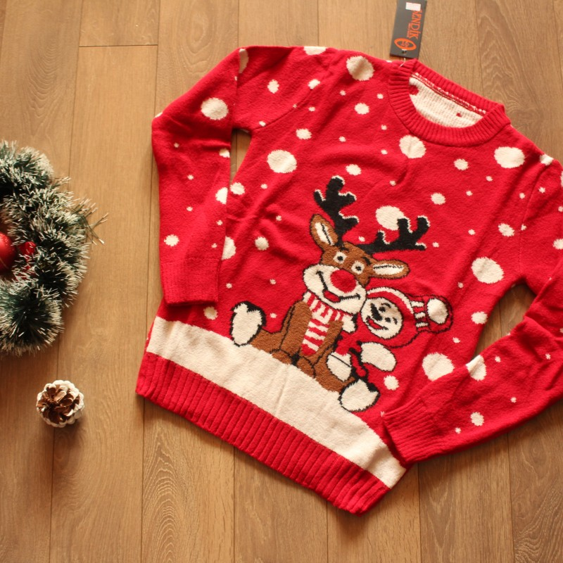 Дамски Коледен Пуловер - Червен
