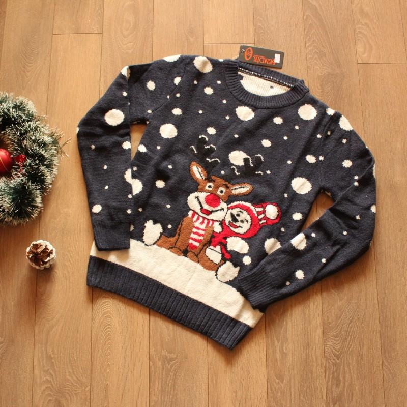 Дамски Коледен Пуловер - Тъмносин