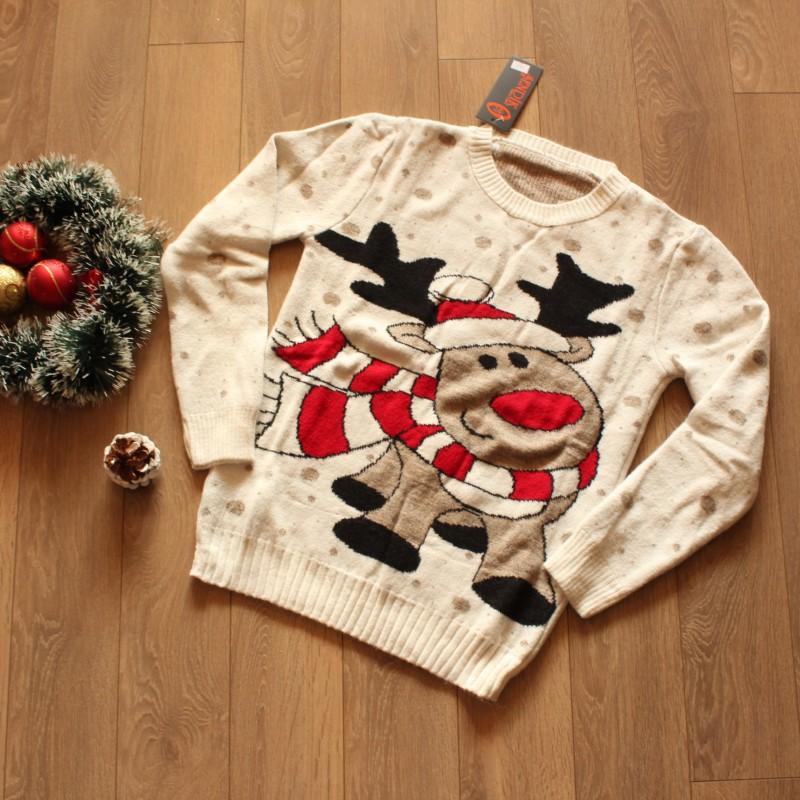 Коледен Пуловер - Бял