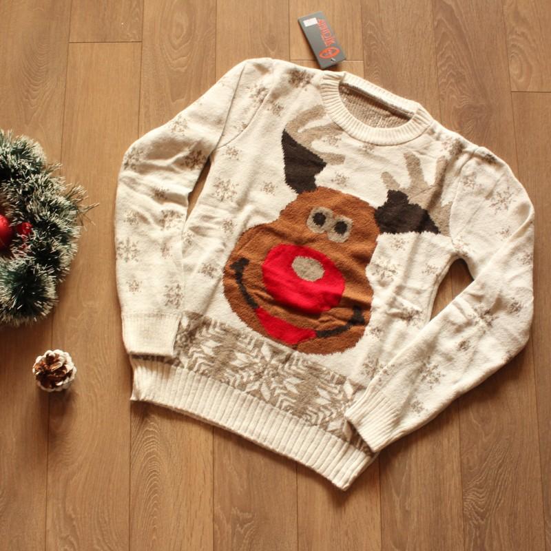 Коледен пуловер Рудолф - Бял