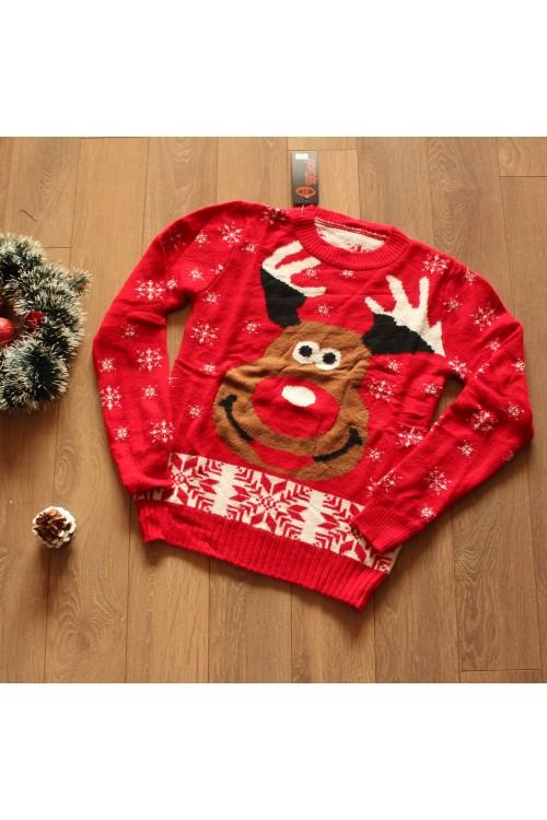 Коледен пуловер Рудолф - Червен