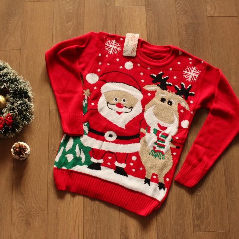 Коледен пуловер с Дядо Коледа и Рудолф