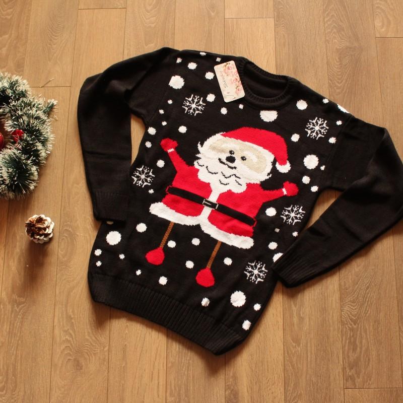 Коледен пуловер с Дядо Коледа и снежинки