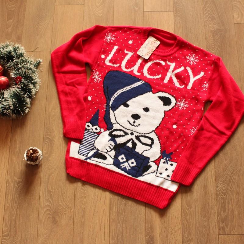 Коледен пуловер с мече - червен